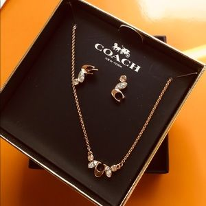 Coach pair earrings & necklace